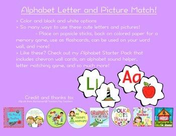Kindergarten Alphabet Letter and Picture Match