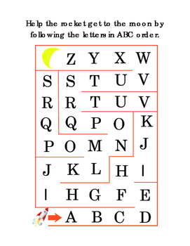 Kindergarten Alphabet Maze Follow Letters ABC order Rocket Moon Literacy Print