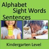 Kindergarten Alphabet, Sight Words, Sentences; OT Handwriting Text Boxes