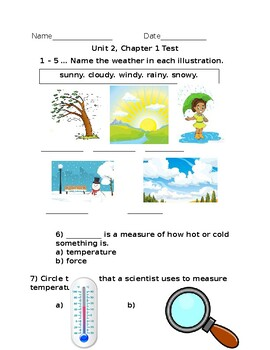 Kindergarten Amplify Science Unit 2, Chapter 1 Test