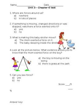 Kindergarten Amplify Science Unit 3, Chapter 6 Test