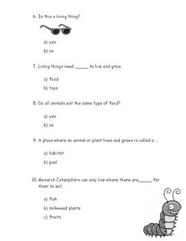 Kindergarten Amplify Science Unit 1, Chapter 1 Test