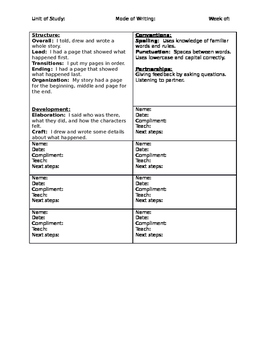 Kindergarten Anecdotal Writing Tool-Narrative