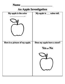 Kindergarten Apple Investigation EDITABLE