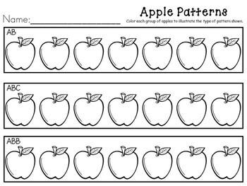 Kindergarten Apple Math Center - Apple Patterns