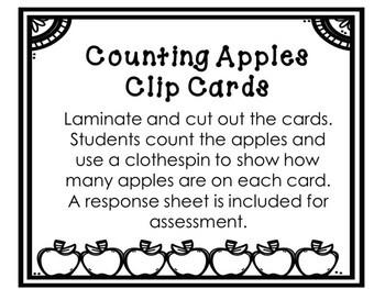 Kindergarten Apple Math Center - Counting Clip Cards