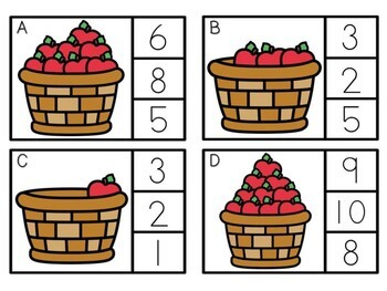 Kindergarten Apple Math Center - Counting Clip Cards
