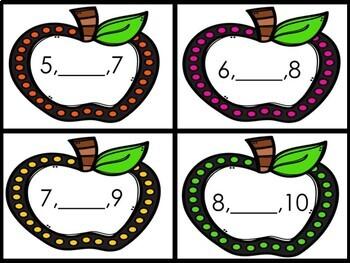 Kindergarten Apple Math Center - Missing Number