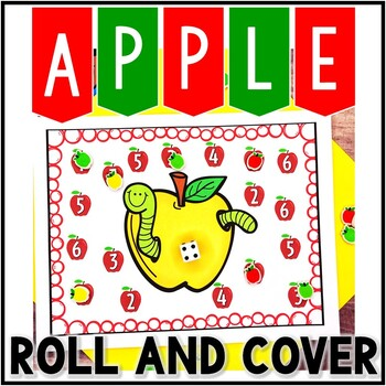 Kindergarten Apple Math Center - Roll and Cover