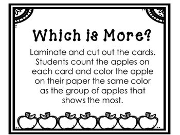 Kindergarten Apple Math Center - Which is More? - Comparing Numbers