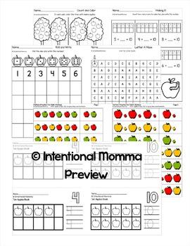 Kindergarten Apples: Math and Morning Work