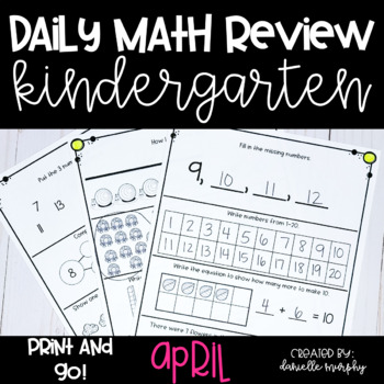 Math Journal--April Daily Review for Kindergarten--Common
