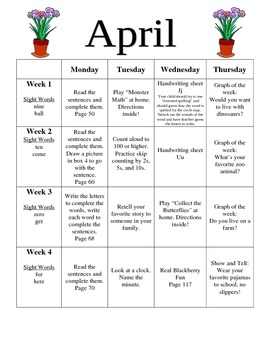 Kindergarten April Homework