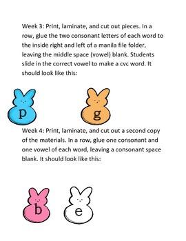 Kindergarten Picky Peeps CVC Words Literacy Center Week 3 & 4