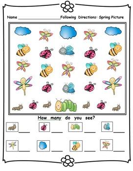 Kindergarten April Reading Writing and Math Activities