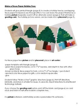 Kindergarten Art Center: Tissue Paper Tree, Card & Placemat