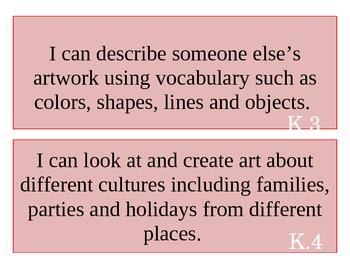 Kindergarten Art I Can Statements