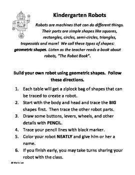 Kindergarten Art Sub Plan: Draw a Robot
