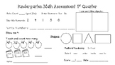 Kindergarten Assessment 1st quarter