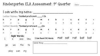 Kindergarten Assessment 1st quarter