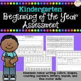 Kindergarten Assessment - Beginning of the Year