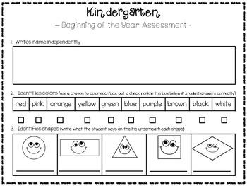 Kindergarten Assessment - Beginning of the Year