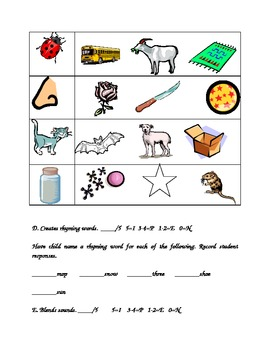Kindergarten Assessment Beginning of the Year