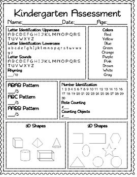 Kindergarten Assessment Bundle