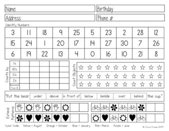Kindergarten Assessment Form