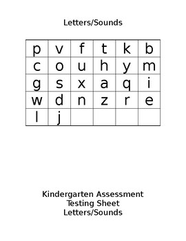 Kindergarten Assessment Forms