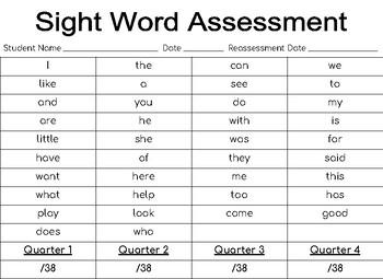 Kindergarten Assessment Pages