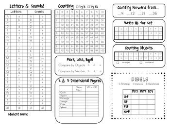 Kindergarten Assessment Quick Sheet
