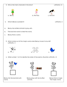 Kindergarten Assessment Reading Literature Craft-Structure Common Core Standards