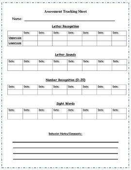 Kindergarten Assessment Recording Sheet