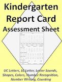 Kindergarten Assessment Report Card Sheet