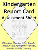 Kindergarten Assessment Report Card Sheet