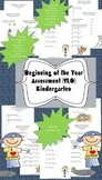 Kindergarten Assessment (SLO) for Beginning of the year