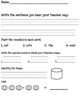 Kindergarten Assessment (Sentence, Addition, Blends, Vowels)