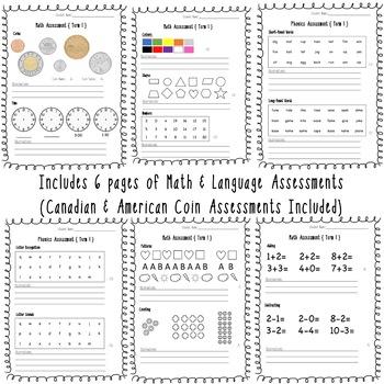 Kindergarten Assessment Sheets {Math & Language}