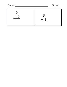 Kindergarten Assessment: Simple Addition