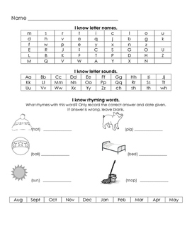 Kindergarten Assessment Tracker