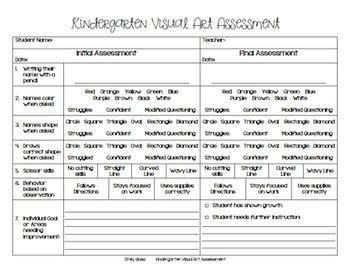 Kindergarten Assessment for Visual Art
