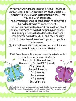 Kindergarten Assessments- Literacy and Math Assessments Meeting CCSS