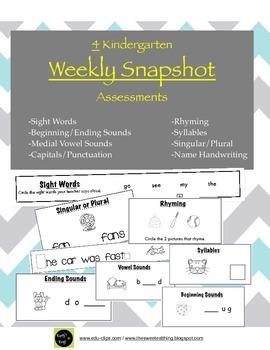 Kindergarten Assessments: Weekly Snapshots 1