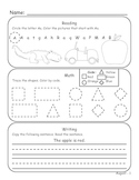 Kindergarten August Homework or Morning Work