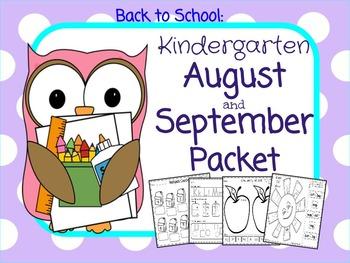 Kindergarten August-September Packet: Back to School