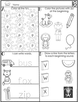 Kindergarten August Word Work Journal