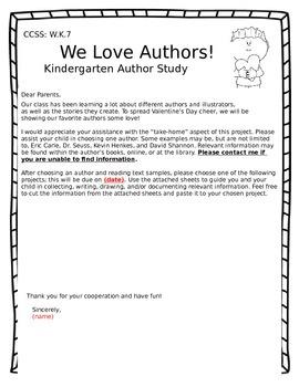 Kindergarten Author Study - Letter to Parents