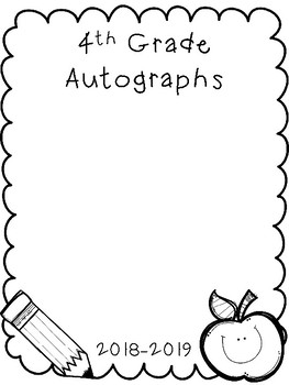 Autographs for K-5th grade