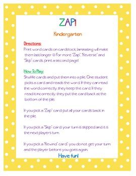 ZAP! Sight Word & Word Work Game ~ Kindergarten BUNDLE (2 Word Lists!)